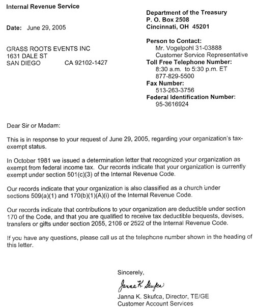 IRS letter confirming Grass Roots Events Inc as a 501(c)3