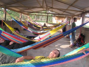Delegations in the tropics often have a chance to sleep in hammocks
