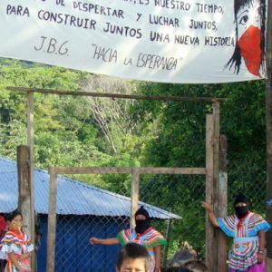 Entrance to the Zapatisa civilian center in La Realidad where the ambush took place in Chiapas, Mexico