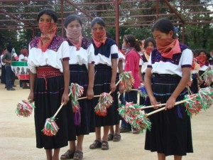 Zapatista students preparing for September 16 Independence Day activities in Oventic, Chiapas, Mexico
