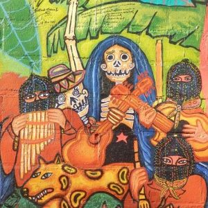Musical band of those who have crossed to the other side in the Zapatista educational and production center of Jolja. Painted 2014.
