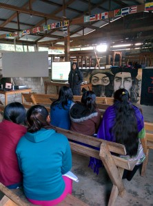 Schools for Chiapas volunteer presents to Education Promoters at Food Forest workshop.