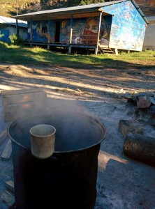Morning comes early during Zapatista Food Forest workshops and coffee helps start the day.