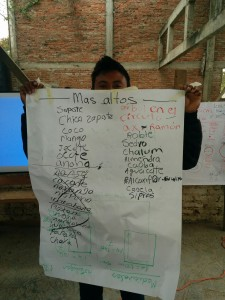 Zapatista education promoter displays a beginning list of tall species for his school's Food Forest.