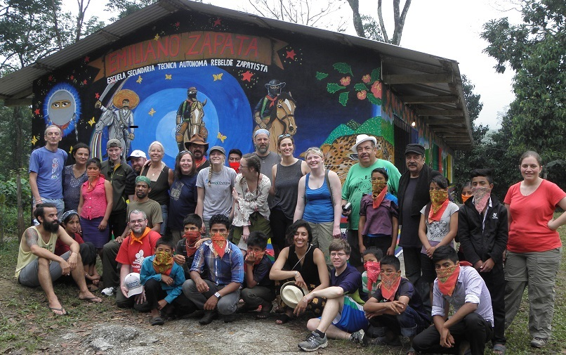 This mural was created in the spring of 2016 as part a collaboration between the students and educators at one small Zapatista school and a group of international and Mexican people-of-conscience including students from the University of Wisconsin, Parkside. This mural painting caravan was hosted by the Zapatista Education Commission of the Caracol of Morelia and organized by Schools for Chiapas.