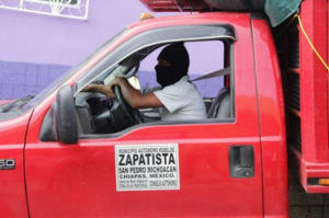 Zapatista truck loaded to deliver food in solidarity with teacher strikes