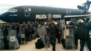 Militarized police are flown into Chiapas to repress teachers demonstrating to save public education.